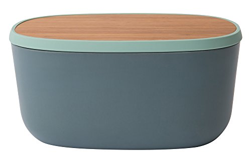 BergHOFF Leo 12.5' Bamboo Bread Box with Cutting Board, Blue