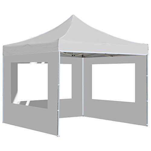 Tidyard Gazebo Professionale Pieghevole (con Pareti),Tende Esterno in Alluminio 3x3m Crema/Bianco 1# 2# 3#