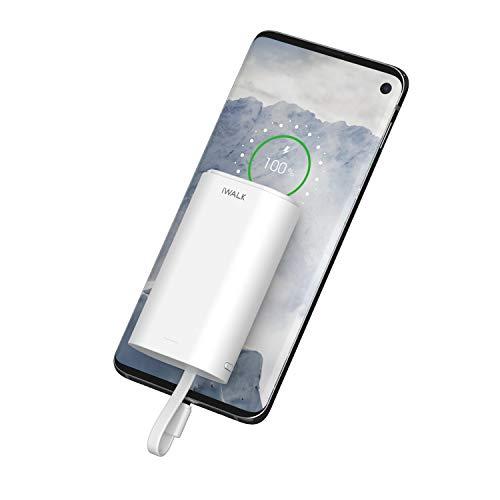 iWALK Mini USB-C Power Bank 9000mAh, Tragbares Ladegerät Errichtet im USB-C Kabel Kompakt Externer Akku kompatibel mit Samsung Galaxy S10, S10+, S9, Note 9, Nexus, HTC, Huawei, LG, Switch and More
