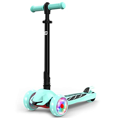 Hiboy hidy Scooter for Kids, 3 Wheel Scooter, Adjustable Height & Flashing LED Wheels for Toddler, Kick Scooter for Kids, Boys & Girls, Suitable for Age 3-10 (Green)