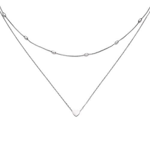 Damen Halskette mit kleinem Herz in Silber | Zwei Ketten aus Edelstahl | Doppelkette einzel tragbar
