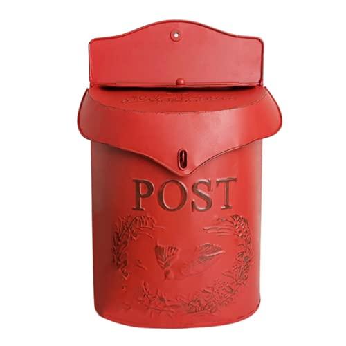 Buzón de correo de metal vintage con cerradura de seguridad para periódico, buzón de jardín, adorno rojo para uso diario en una variedad de hogares o para aplicaciones comerciales