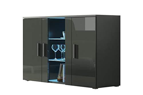 Furniture24 Kommode mit Blauer LED Beleuchtung SOHO S7 Sideboard Schrank Wohnzimmerschrank mit 3 Türen (Grau/Grau Hochglanz)