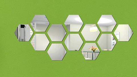MYAMIA 12Pcs 3D Mirror Hexagon Vinyl DIY Abnehmbare Wandaufkleber Art Decal Home Dekor-Silber