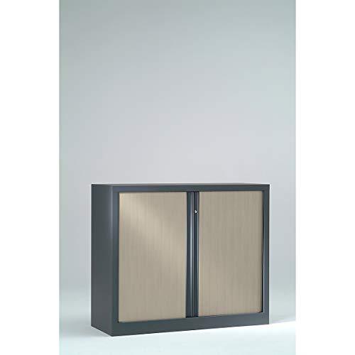 Armoire Monobloc à rideaux ignifuge M2 | Anthracite | Erable | HxLxP 1000 x 1000 x 430 | Pierre Henry -