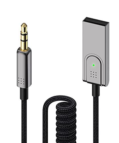 Foncent USB Bluetooth 5.1 Empfänger, Bluetooth Adapter Auto Aux mit Mikrofon für KFZ Freisprechen und Musik-Streaming Kompatibel mit Auto Audio System, Lautsprecher, Verstärker, Smartphone, PC usw.