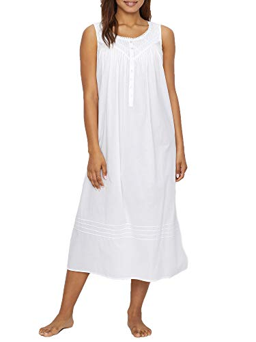EILEEN WEST WHITE POETIC LAWN BALLET WOVEN NIGHTGOWN, Size Large