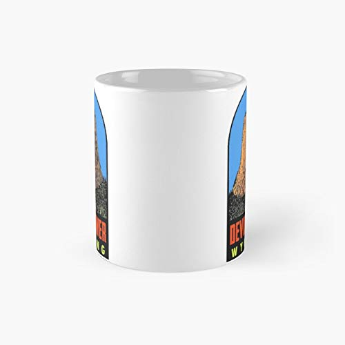 Devils Tower Wyoming Vintage Travel Decal Classic Mug - 11 Ounce For Coffee, Tea, Chocolate Or Latte.