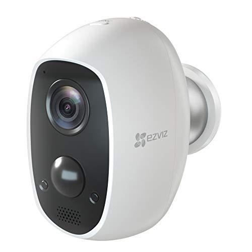 EZVIZ C3A Telecamera a Batteria Telecamera Wi-Fi Senza Fili 1080p ip Camera a Batteria rilevamento di Movimento PIR, Visione Notturna, Audio bidirezionale, Compatibile con Alexa