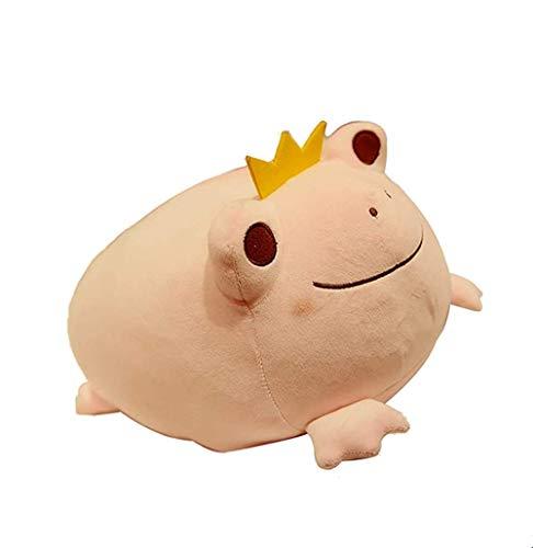 zcm Juguete de peluche con corona de rana, juguete creativo de dibujos animados, almohada de sofá para el hogar (rosa)