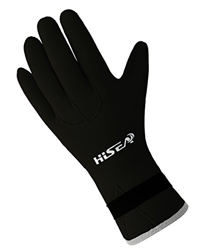 Hisea 3mm Dicke Neoprenanzug Tauchhandschuhe Unisex Handschuhe Anti-Rutsch Erwachsene Elastische Warmhalte Surfen Wasserschuhe-Schwarz-M