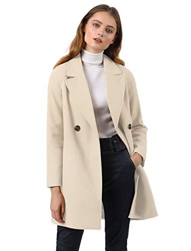 Allegra K Damen Langarm Revers Zweireiher Raglan Trenchcoat Mantel Creme S