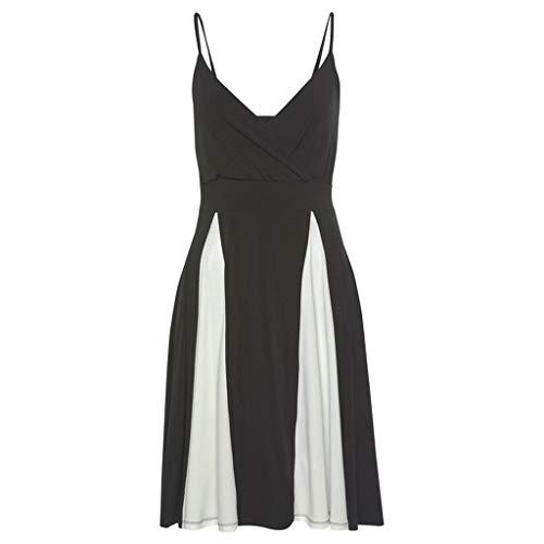Sonojie Frauen Sommer sexy Strap schwarz und weiß Patchwork v-Ausschnitt reich Casual Dress