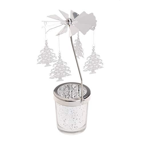 Wanfor Romantische Kerzen Geschenkset, Tisch Kerzen Dekoration, Xmas Candle Gifts Rotary Spinning tealight Candle Metal Tea Lig HT Holder Karussell dekoriert