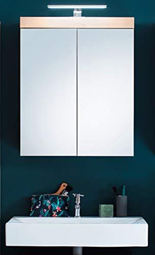 Badezimmer Spiegelschrank in Eiche Asteiche Amanda 60 x 77 cm inklusive LED Spiegellampe und Steckdose