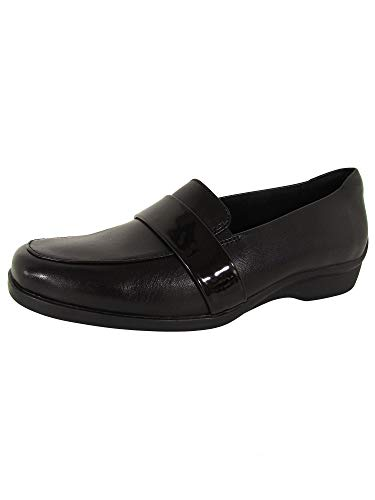 Aravon Womens Winsor Moc Loafer Shoes, Black Leather, US 11 W
