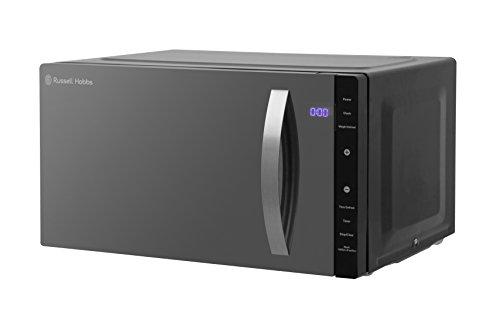 Russell Hobbs RHFM2363B Digitales Flachbett Solo-Mikrowelle mit 5 Leistungsstufen, 8 automatische Kochmenüs, einfache Reinigung, Uhr und Timer, automatische Abtauung, 23 l, 800 W, Schwarz