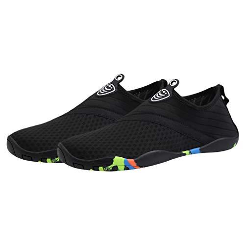 Happyyami Zapatos de Agua Antideslizantes Zapatos Deportivos de Secado Rápido Buceo Descalzo Nadar Surf Aqua Zapatos de Playa para Caminar Zapatos de Yoga para Mujeres Hombres Negro