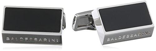Baldessarini Herren-Manschettenknöpfe mit schwarzer PVD-Veredelung rechteckig Edelstahl - silber