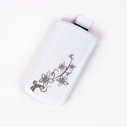 Valenta Etui offen - weiß - mit Ausziehlasche & trendigem Blumenprint für Motorola RAZR V3i