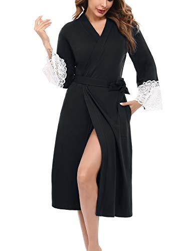 iClosam Robe de Chambre Femme Coton,Robe de Chambre Dentelle aux Poignets Peignoir Femme Coton avec Ceinture Noir M