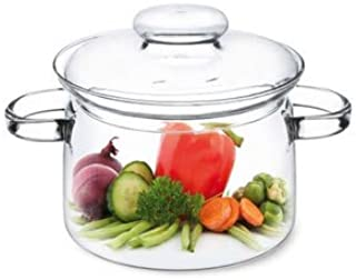 Simax Glassware 1.5 Quart Glass Pot With Lid | Heat Resistant Handles – Doubles as Serving Dish - Made from Oven, Microwave, Stove and Dishwasher Safe Borosilicate Glass – Small Glass Pot