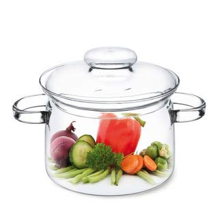 Simax Glassware Glass Pot With Lid: 1.5 Quart | Heat Resistant Handles – Doubles as Serving Dish - Made from Oven, Microwave, Stove and Dishwasher Safe Borosilicate Glass – Small Glass Pot