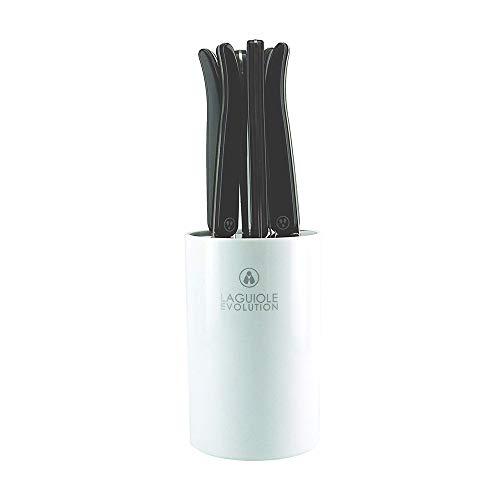 Laguiole Évolution® - 6 couteaux à steak - Avec bloc de rangement - Acier inoxydable - Manche ABS - Set couteau de table manches design Acidulé - Couleur Noir Carbone