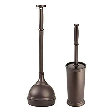 InterDesign Freestanding Toilet Bowl Brush and Plunger Combo Set for Bathroom Cleaner Storage – Set of 2, Bronze