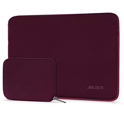 MOSISO Sleeve Hülle Tasche Kompatibel mit 2019 2018 MacBook Air 13 Zoll A1932, 13 Zoll MacBook Pro A2159/A1989/A1706/A1708, Wasserabweisend Neopren Laptoptasche mit Klein Fall, Weinrot