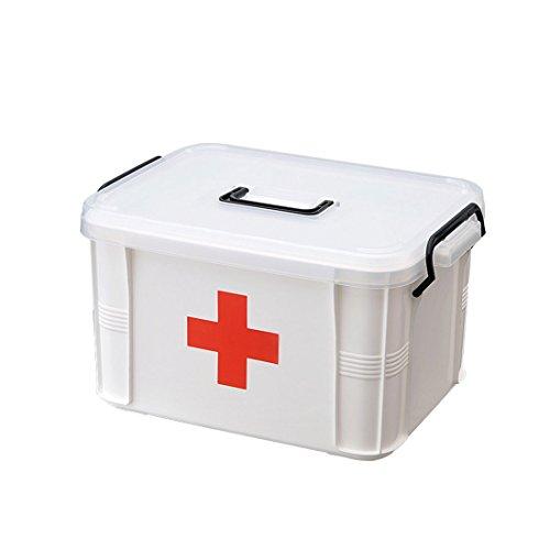 Levoberg Medizinbox abschließbar 23.5 * 16.5 * 13.5cm, Erste Hilfe Box mit getrennten Fächer aus PP Hausapotheke Aufbewahrungsbox mit Griff