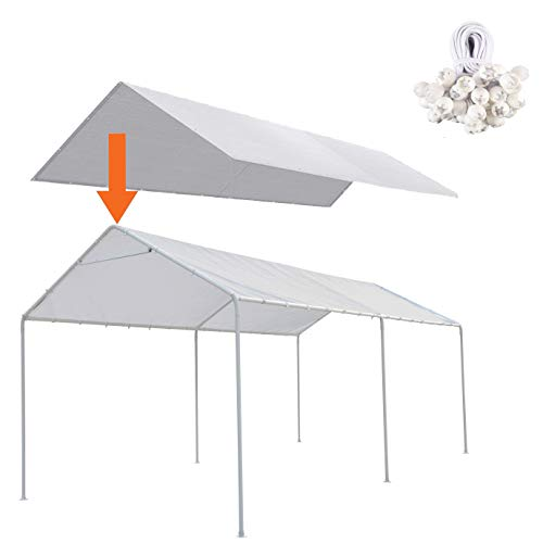 Thanaddo 10 x 20 Ft Carport Replacement Canopy Cover Garage Top Tent Shelter Tarp with Free 48 Ball Bungee Cords,White(Only Cover, Frame Not Include)