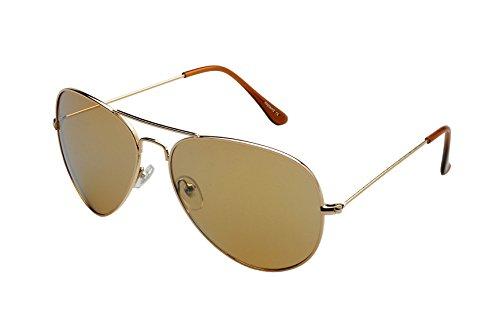 Ravs - Gafas de sol estilo aviador (cristal XXL, incluye softbag), color dorado