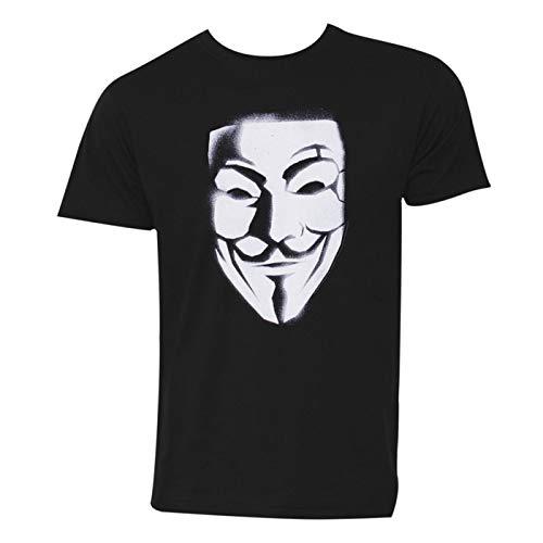 Camiseta masculina V for Vendetta Mask, Preto, M