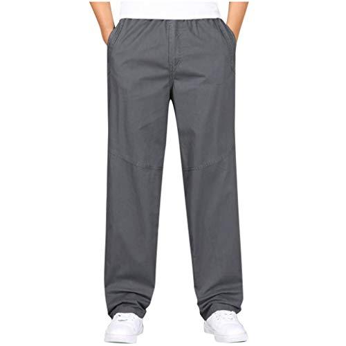 Dasongff – Pantalones de hombre ligeros y sueltos para verano, monocromos, casuales, para el tiempo libre, suaves, cómodos, transpirables, tallas L-6XL xxxxx-large gris