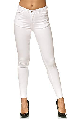 Elara Damen Slim Fit Hose Highwaist Jeans Chunkyrayan H619-7 White 38 (M)