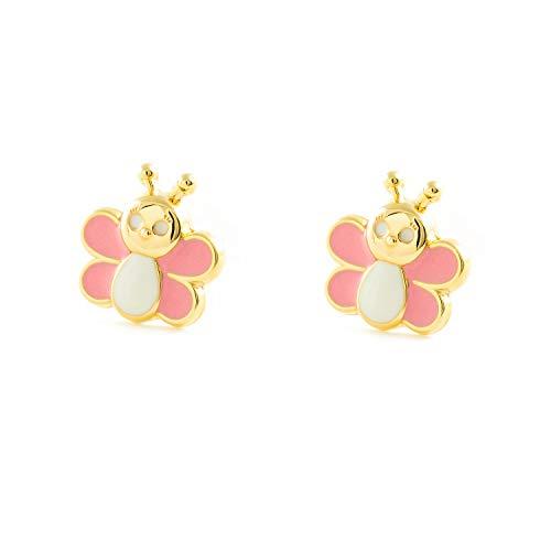 Pendientes Bebe o Niña Oro Mariposa Esmalte Rosa y blanco (9kts)