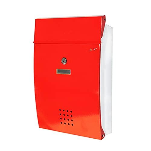 Briefkasten Regenfeste Papierbox Aus Eisen Für Den Innenhof Der Villa Im Freien Großraum-Briefkasten Für Den Außenbereich Mit Schloss (Color : Red, Size : 26 * 8.5 * 37.5cm)