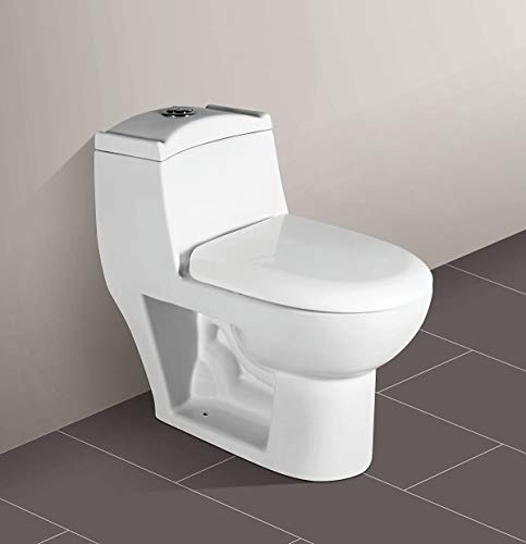 Ceramic One Piece Western Toilet/Commode/Water Closet Siphone Flushing System S Trap - White