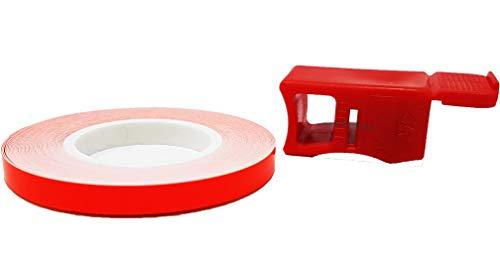 4R Quattroerre.it 10241 Wheel Stripes Strisce Fluorescenti per Cerchi Moto con Applicatore, Rosso, 5 mm x 6 mt