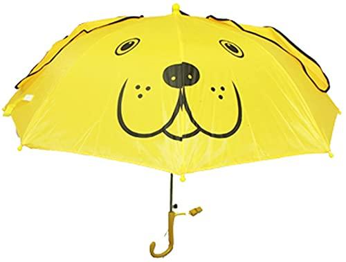 ASKI Los Paraguas Infantiles Son Lindos y novedos Paraguas Plegables, compactas y convenientes, Lluvias y Lluvias, Paraguas de Doble Uso, Yellow Dog