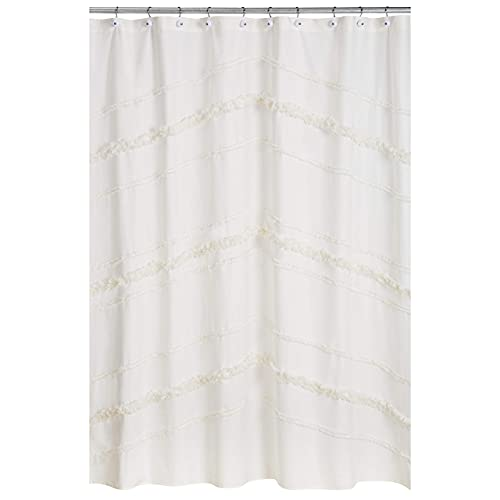 Bohemian Boho Chic Ivory Macrame Tufted Tassel Decorative Bathroom Fabric Bath Shower Curtain Solid Cream Textured Minimalist Off White Cotton Fringe Farmhouse Indie Neutral Rustic 72x72 Room Décor