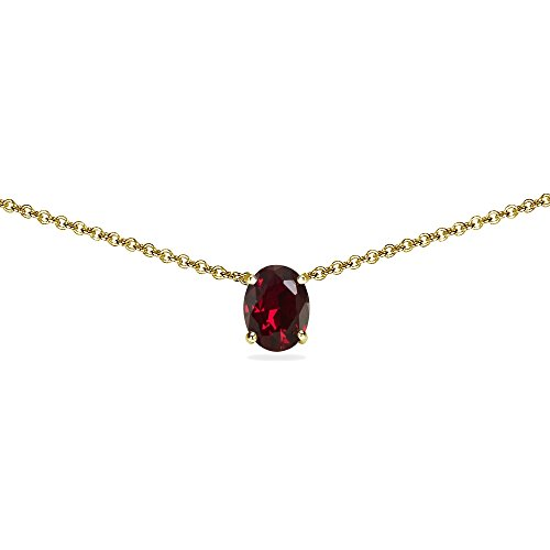 Yellow Gold Flashed Sterling Silver Synthetic Ruby 7x5mm Oval Dainty Choker Necklace