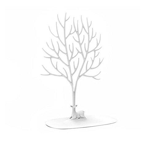 Présentoir pour bijoux en forme de cerf sika avec bois en forme d'arbre pour suspendre des bagues, colliers, ornements blanc L