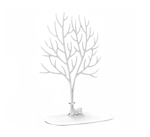 Rings Necklace Ornament Sika Deer Tree Jewellery Display Stand Plastic Holder Accessory Hanging Organiser Rack Tower (Large, White)