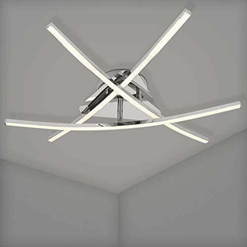 Navaris Lámpara LED Moderna - Lámpara de Techo con 3 Barras de luz LED Curvas con diseño Cromado - para darle Estilo a tu salón o Dormitorio