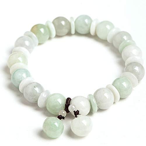 GGMWDSN Pulsera, Pulseras Piedras Naturales Mujer, Pulsera de Buda, 10 mm Pulsera de Jade Verde Natural JadeíTa Pulsera de Cuentas de Jade ÚSelo como Regalo