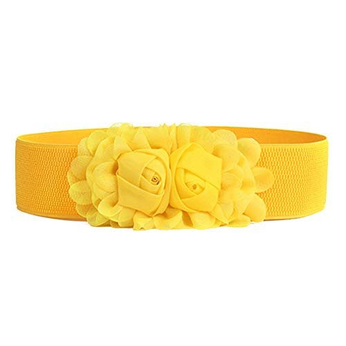 hwangli Waist belts Women Girl Fashion Wide Stretch Elastic Waist Belt Solid Color Flower Waistband Yellow