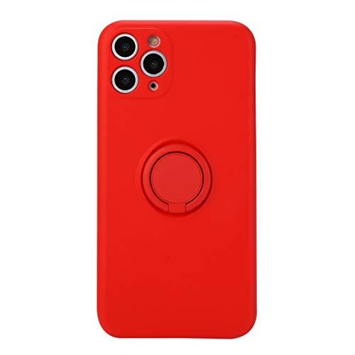 JIANWU CAS de couverture, Caja Protectora de Cobertura Total 11 Sólido Líquido Color de Silicona a Prueba de Golpes for el iPhone con el sostenedor del Anillo (Color : Bright Red)