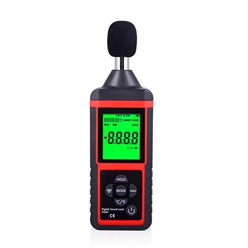Ehdis Digitaler Schallpegelmesser Schallpegel Messgerät Decibel Meter Geräuschmessung mit LCD-Bildschrim, 30dBA - 130dBA hohe Genauigkeit ± 1,4dBA, inklusive Schutztasch